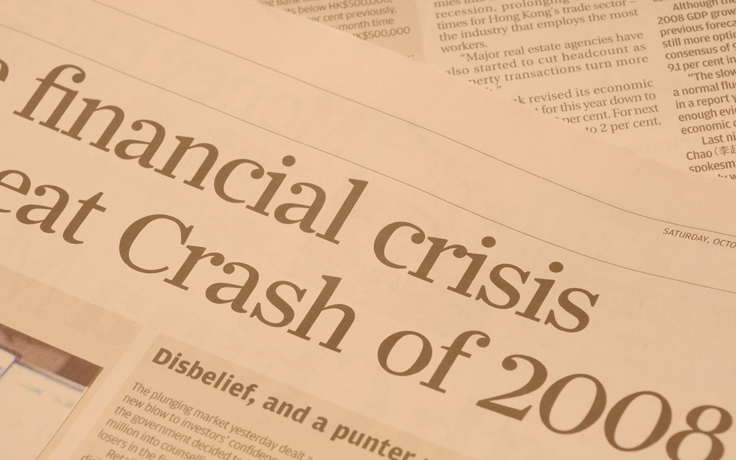 Newspaper article about Financial crash of 2008