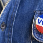 """Closeup of """"Vote"""" Pin --- Image by"""