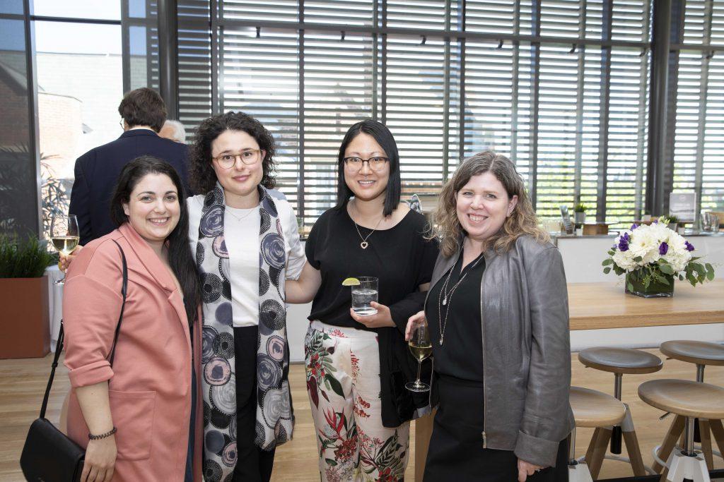9th floor staff past and present (from left to right): Nogah Kornberg, Terri Block, Dorinda So, and Jennifer Riel